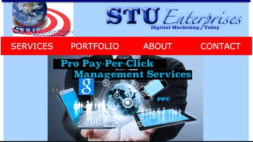 STU Enterprises second website homepage with GoDaddy