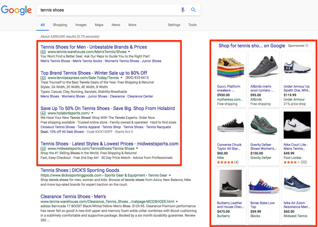 STU Enterprises Google Search Network example for pay per click advertising