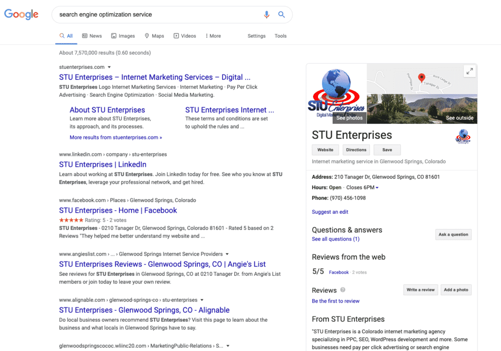 STU Enterprises Google My Business Listing in Google Search Engine Results Pages