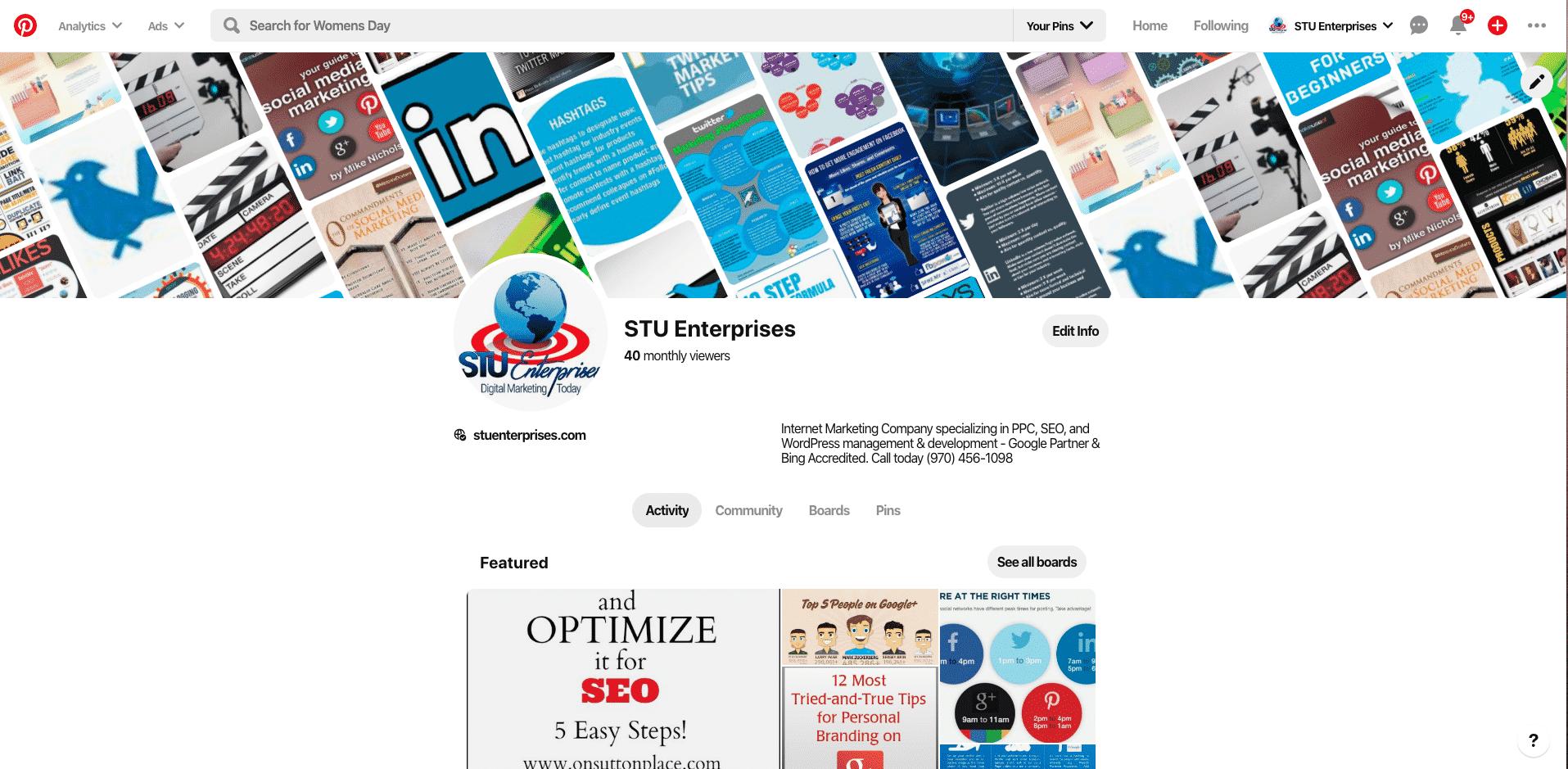 STU Enterprises Pinterest Page Live