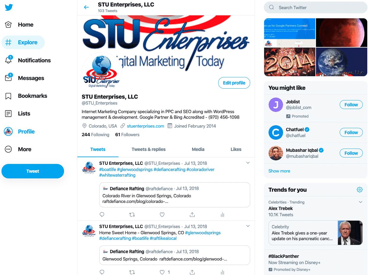 STU Enterprises Twitter Page Live