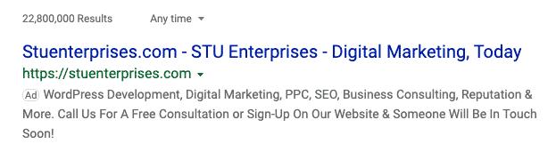 Branding STU Enterprises Google Ads example