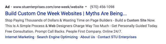 One week website Google Ad example