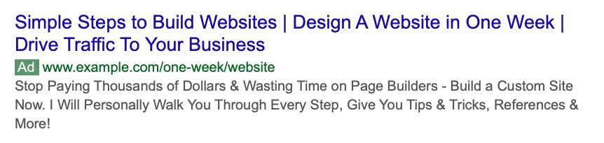One week website Bing Ads example